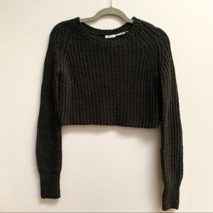 Cropped urban outfitters cable knit sweater
